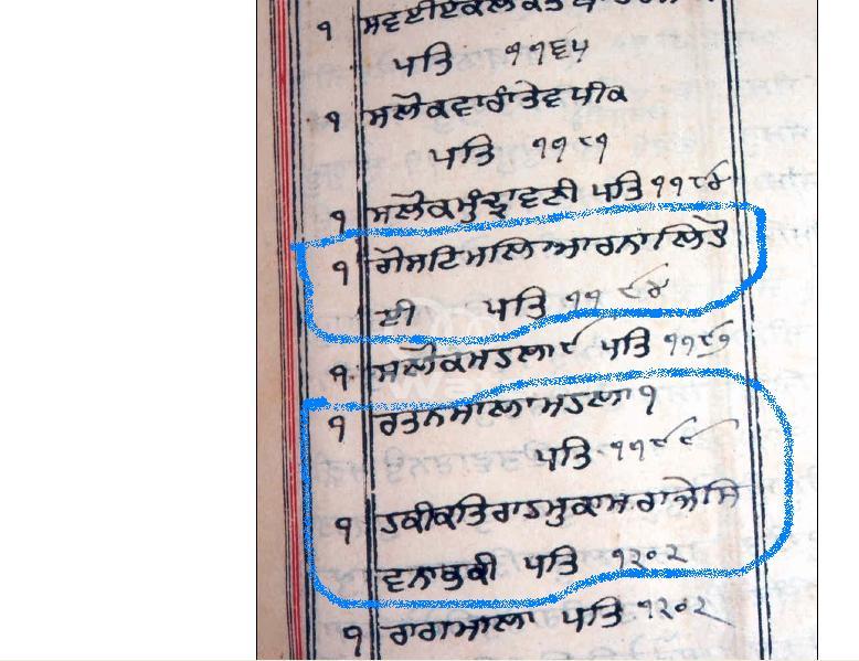 "A puraatan saroop from Patna Sahib showing the discredited composition (ਕਚੀ ਬਾਣੀ) entitled ""Ghost Maliaar Naal…"", ""Ratan-Mala"" (which is shown to be Guru Nanak Dev Ji's composition), and ""Hakeekat Raah Mukaam Raaje Shiv Nabh Kee"" before Raagmala. (Photo courtesy of www.RagmalaBaniHai.info)"